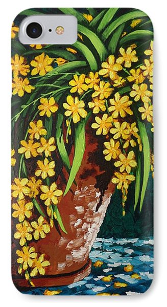 IPhone Case featuring the painting Yellow Cascade by Katherine Young-Beck