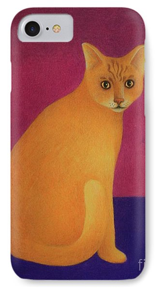 IPhone Case featuring the painting Yellow Cat by Pamela Clements