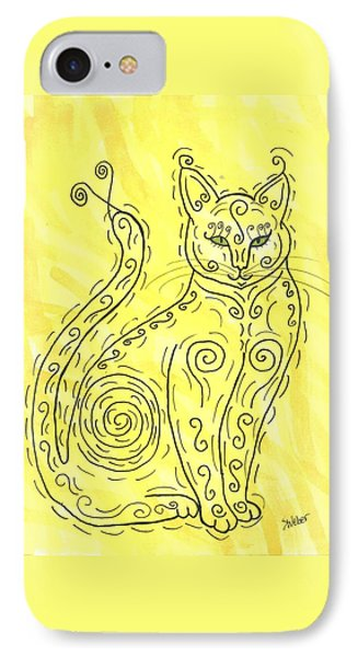 IPhone Case featuring the painting Yellow Cat Squiggle by Susie Weber