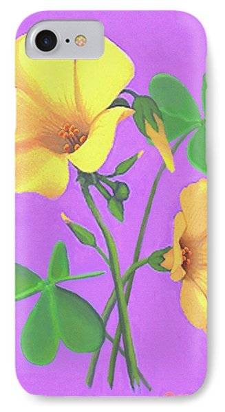 IPhone Case featuring the painting Yellow Clover Flowers by Sophia Schmierer