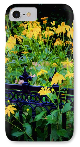 Yellow Coneflowers Echinacea Wrought Iron Gate Phone Case by Rich Franco