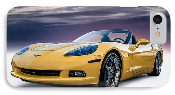 Yellow Corvette Convertible IPhone Case by Douglas Pittman