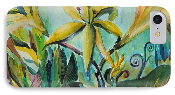 Yellow Day Lilies IPhone Case by Mindy Newman