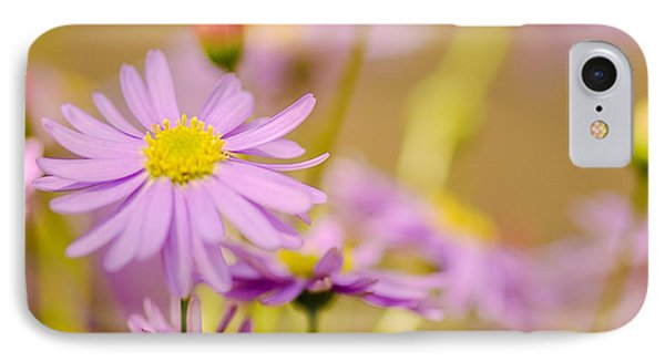 Yellow Disc Purple Daisies  IPhone Case by Optical Playground By MP Ray