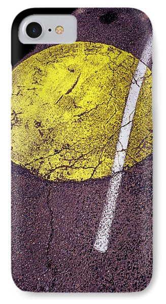 Yellow Dot On Asphalt IPhone Case by Panoramic Images