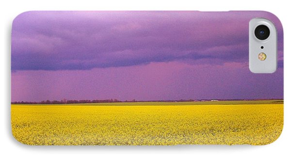 Yellow Field Purple Sky IPhone Case by Cathy Long