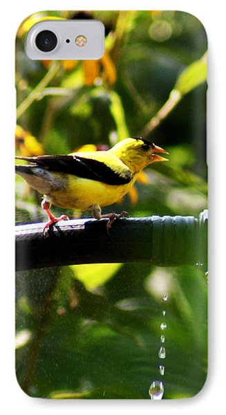 Yellow Finch With A Water Leak IPhone Case by B Wayne Mullins
