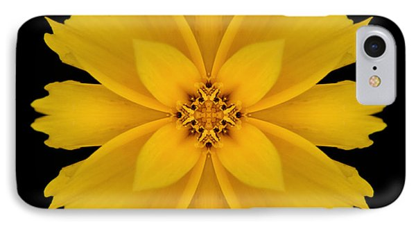 Yellow Flower Kaleidoscope Abstract Phone Case by Don Johnson