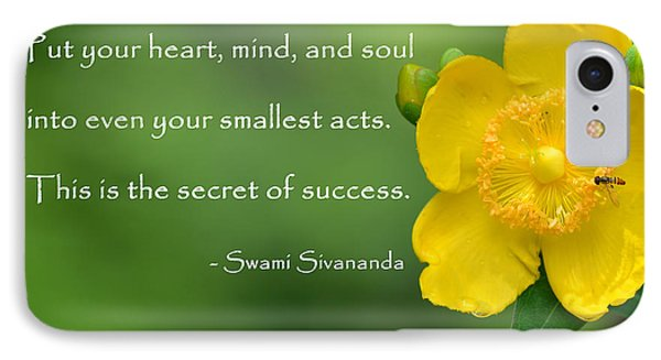 Yellow Flower With Success Quote IPhone Case