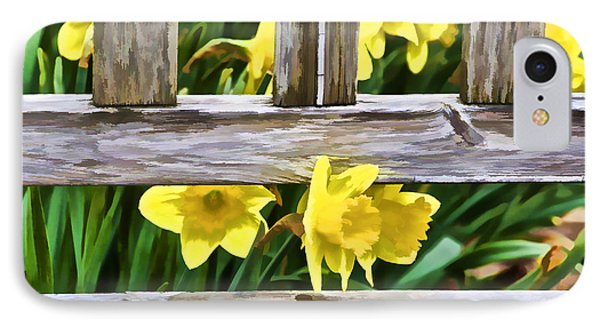 Yellow Flowers By The Bench Phone Case by David Letts