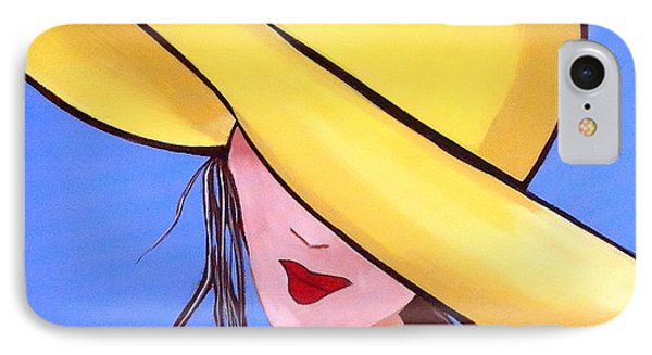 Yellow Hat On Blue IPhone Case