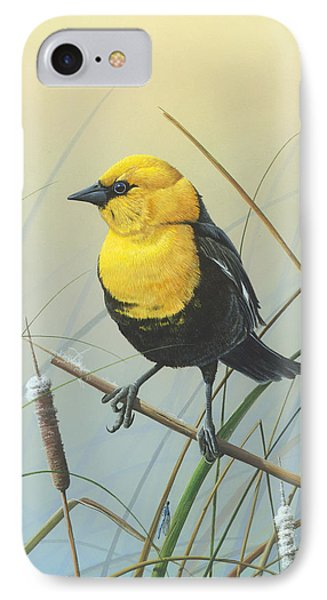 IPhone Case featuring the painting Yellow-headed Black Bird by Mike Brown
