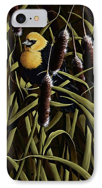 Yellow Headed Blackbird And Cattails IPhone Case