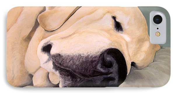 Yellow Lab - A Head Pillow Is Nice Phone Case by Amy Reges