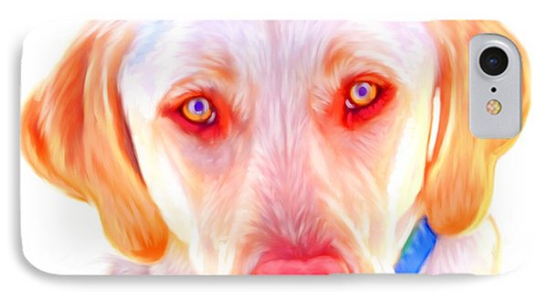 Yellow Labrador Dog Art With White Background Phone Case by Iain McDonald
