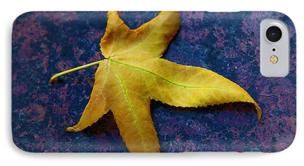 Yellow Leaf On Marble IPhone Case by David Davies