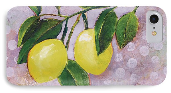 Yellow Lemons On Purple Orchid IPhone Case by Jen Norton