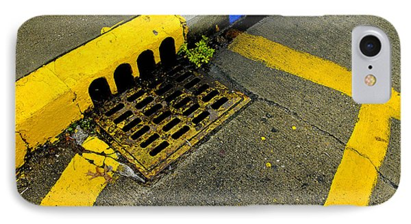 Yellow Lines And Sewer Grate On Street IPhone Case by Panoramic Images