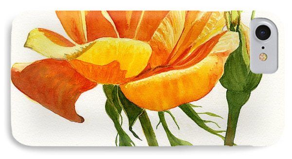 Yellow Orange Rose With Bud On White IPhone Case by Sharon Freeman