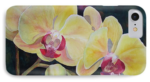 Yellow Orchids IPhone Case by Judy Mercer