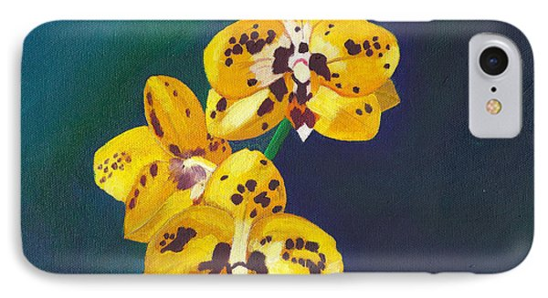 IPhone Case featuring the painting Yellow Orchids by Laura Forde