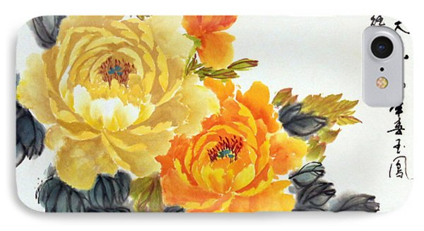 Yellow Peonies IPhone Case by Yufeng Wang
