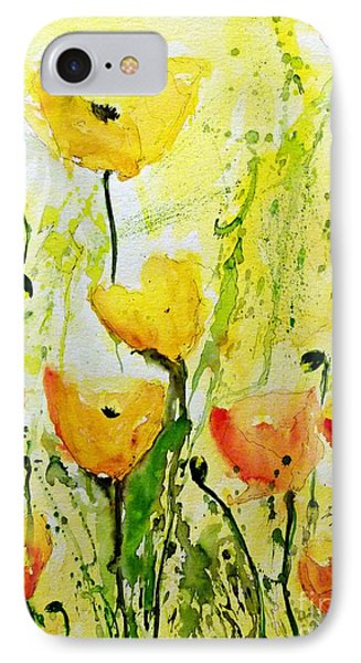 Yellow Poppys - Abstract Floral Painting IPhone Case by Ismeta Gruenwald