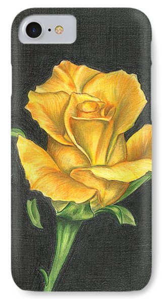 IPhone Case featuring the drawing Yellow Rose by Troy Levesque
