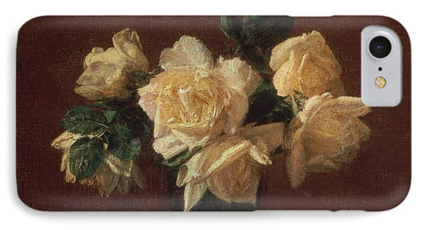 Yellow Roses IPhone Case by Ignace Henri Jean Fantin-Latour