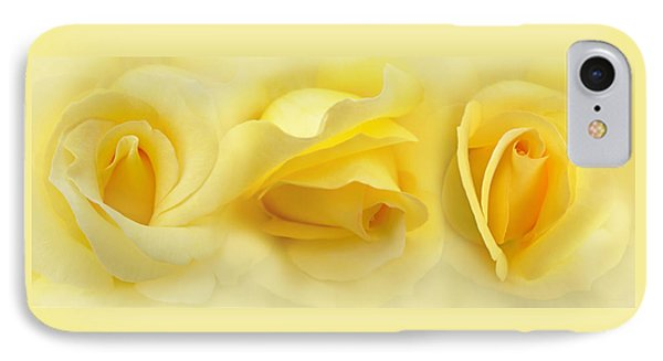Yellow Roses Triptych Panel Phone Case by Jennie Marie Schell