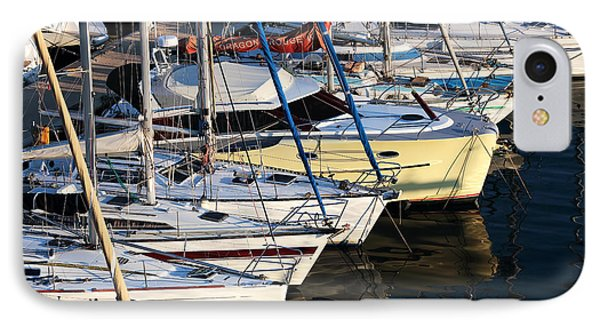 Yellow Sailboat At Marseille IPhone Case by John Rizzuto