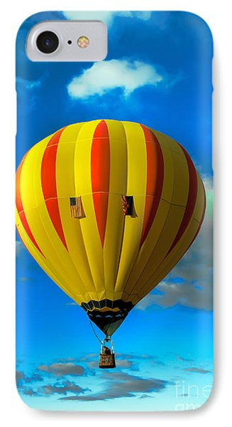Yellow Sripped Hot Air Balloon IPhone Case by Robert Bales
