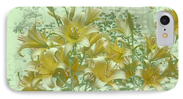 IPhone Case featuring the photograph Yellow Stargazers On Soft Green by Tom Wurl