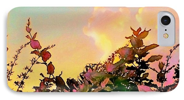 Yellow Sunrise With Flowers - Square IPhone Case