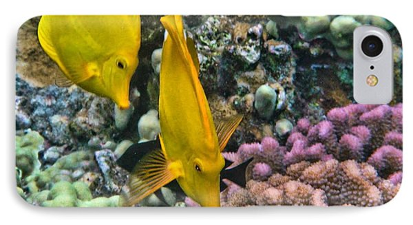Yellow Tang Pair IPhone Case by Peggy Hughes