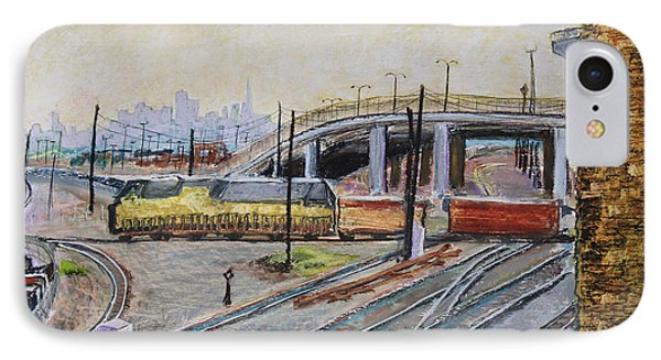 Yellow Train And San Francisco Skyline Phone Case by Asha Carolyn Young