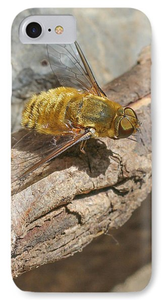 IPhone Case featuring the photograph Yellow True Bee Fly - Bombiliinae by Jivko Nakev
