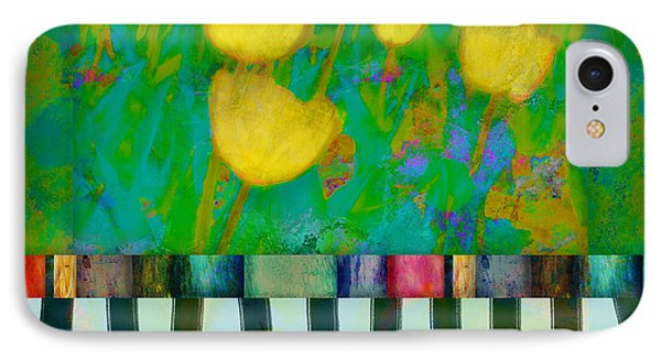 Yellow Tulips Abstract Art Phone Case by Ann Powell