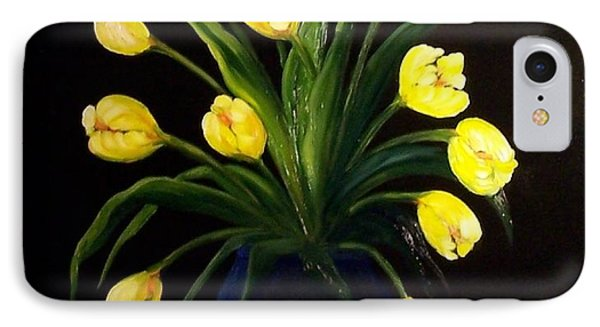 Yellow Tulips And White Eyelet Phone Case by Peggy Miller
