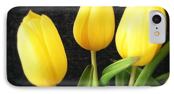 Yellow Tulips Black Background IPhone Case