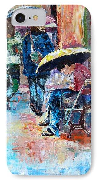 Yellow Umbrella IPhone Case by Janet Garcia