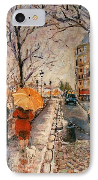 IPhone Case featuring the painting Yellow Umbrella by Walter Casaravilla