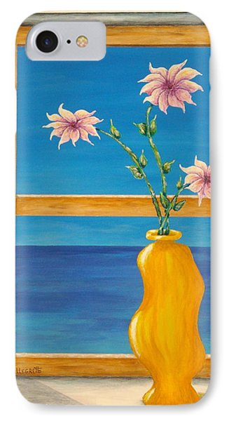 Yellow Vase With Sea View Phone Case by Pamela Allegretto