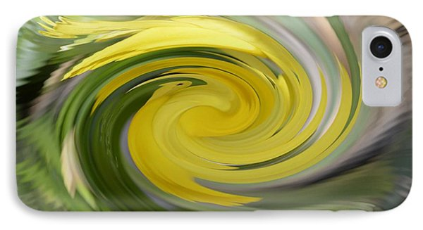 IPhone Case featuring the digital art Yellow Whirlpool by Luther Fine Art