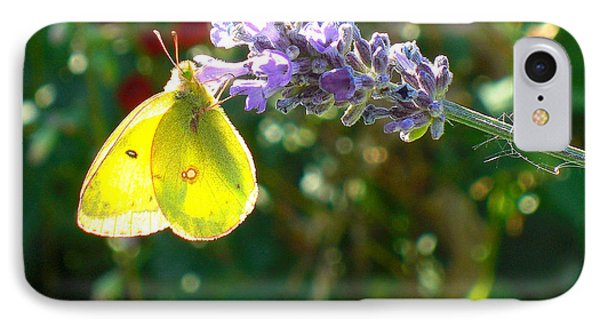 Yellow Wings On Lavendar IPhone Case by Heidi Manly