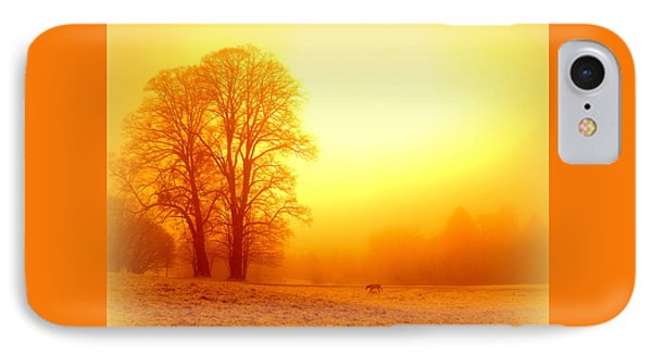 Yellow Winter Sunrise Phone Case by The Creative Minds Art and Photography