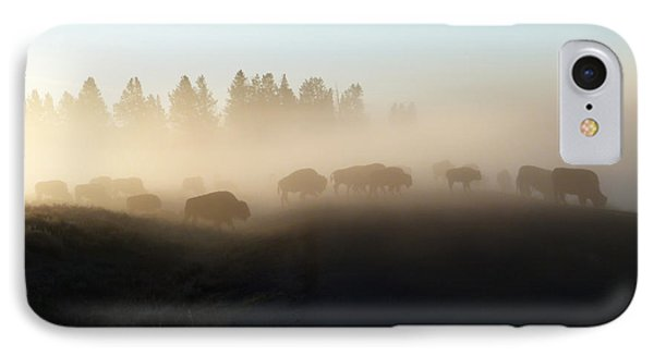 Yellowstone Bison In Early Morning Fog Phone Case by Bob and Nancy Kendrick