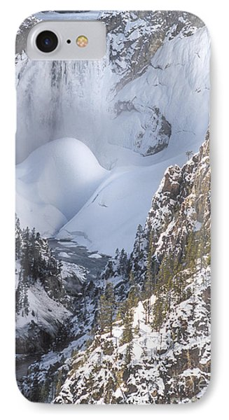 Yellowstone -  Lower Falls In Winter Phone Case by Sandra Bronstein