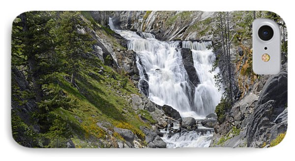 Yellowstone's Mystic Falls With Spring Flowers Phone Case by Bruce Gourley