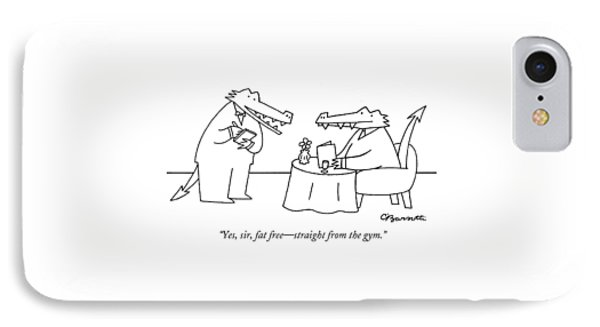 Yes, Sir, Fat Free - Straight From The Gym IPhone Case by Charles Barsotti